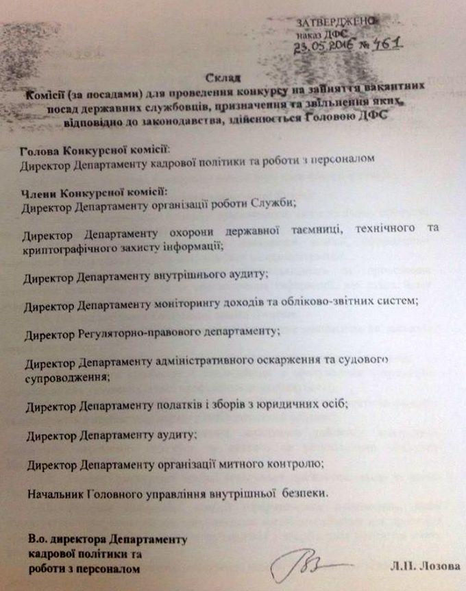 Конкурсна комісія ДФС