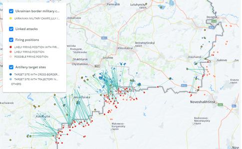 Bellingcat продемонстрировал карту обстрелов Донбасса стерриторииРФ