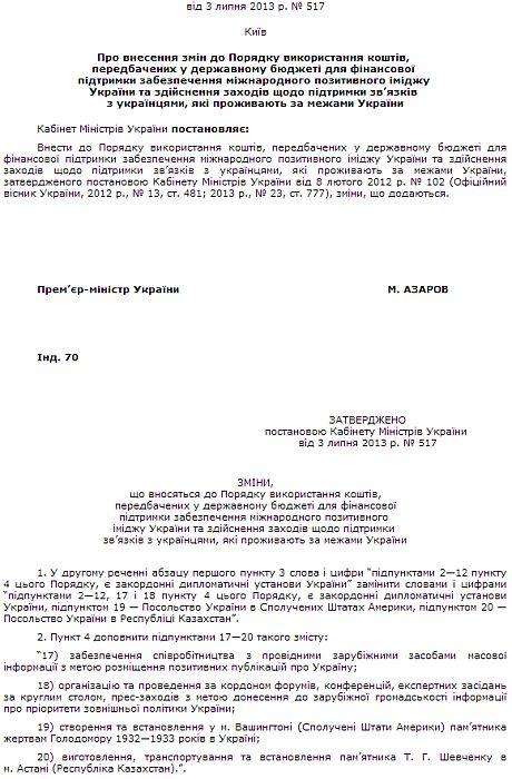 Постановление Кабмина относительно позитивных публикаций об Украине за границей