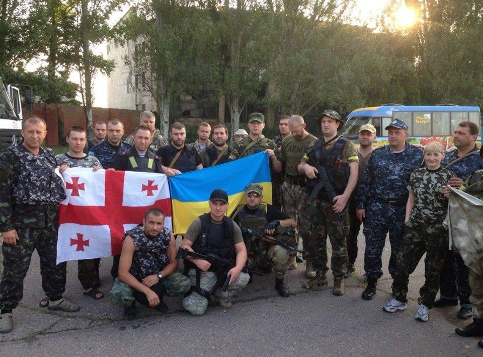 Серпень 2014 року. Грузини разом з бійцями батальйону