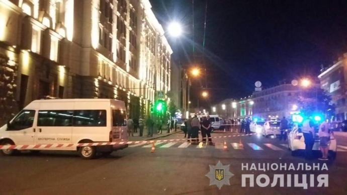 Появилось видео смертельной перестрелки около горсовета вХарькове