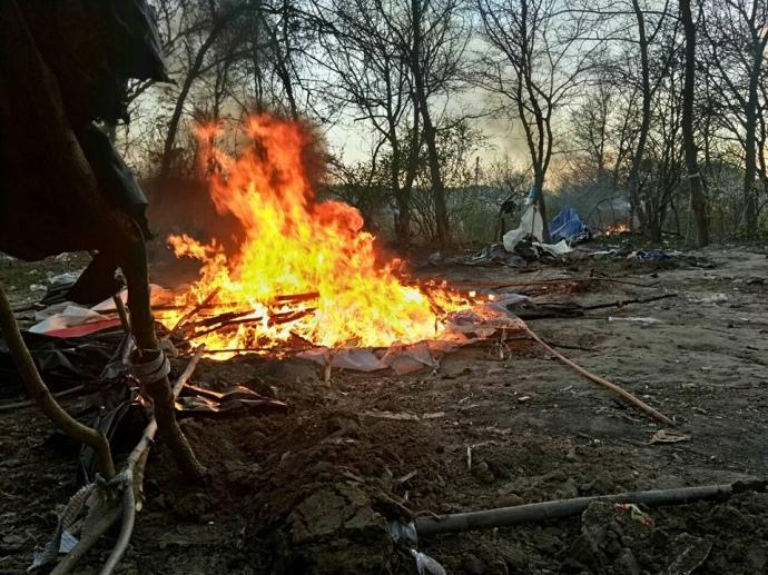 Представники С14 спалили табір ромів уКиєві