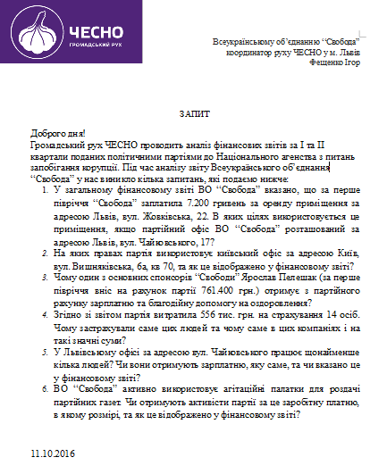 Перелік запитань від ЧЕСНО до партії ВО