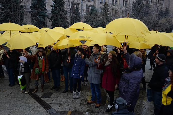 ВКиеве провели флешмоб вподдержку людей, незаконно заключенных вРФ