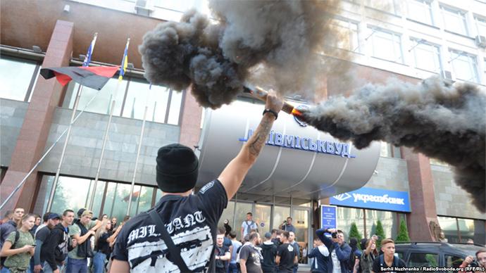 «Азов» вКиеве провел сегодня две акции соспецэффектами