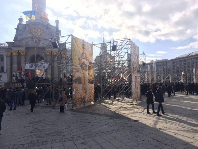 Акции послучаю годовщины Майдана вКиеве проходят спокойно
