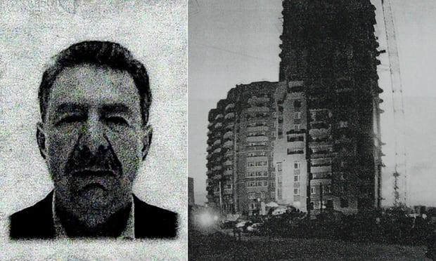 Сергей Коробейников и многоквартирный дом, с которого он упал (Страница из документов следствия).