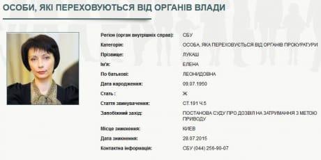 СБУ оголосила врозшук екс-міністра юстиції Лукаш