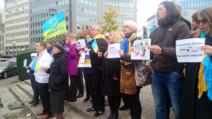 ВБрюсселе прошла демонстрация против агрессииРФ вУкраинском государстве