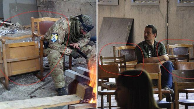 На фото: слева постановка боевиков