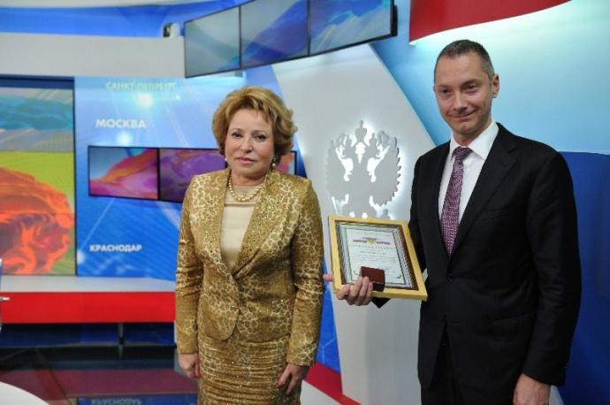 Голова Ради Федерації РФ Валентина Матвієнко та голова Адміністрації президента Борис Ложкін