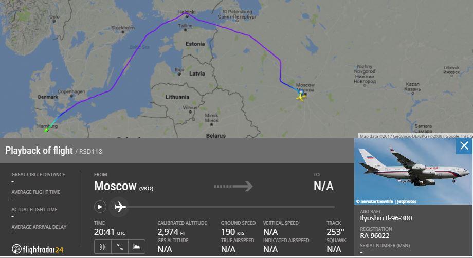 Самолет сПутиным попути вГамбург обогнул страны НАТО