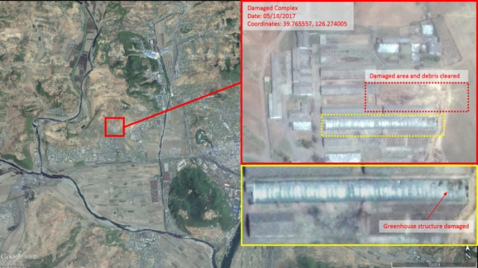Место падения ракеты в городе Токхон на снимках Google Earth