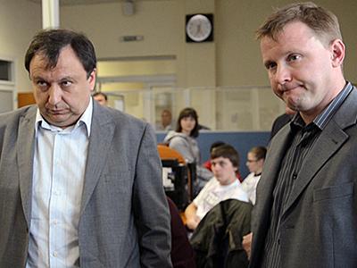 Николай Княжицкий и Артем Шевченко во время захвата канала. Фото telekritika.ua