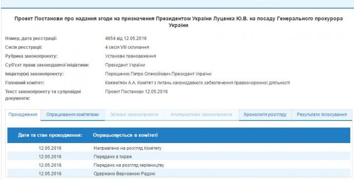Закон, разрешающий Луценко возглавить ГПУ, одобрил Президент