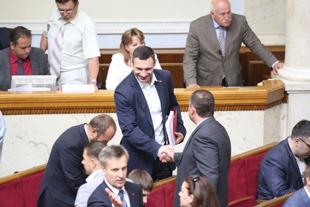 Лідер фракції Удар Віталій Кличко збирав своїх депутатів