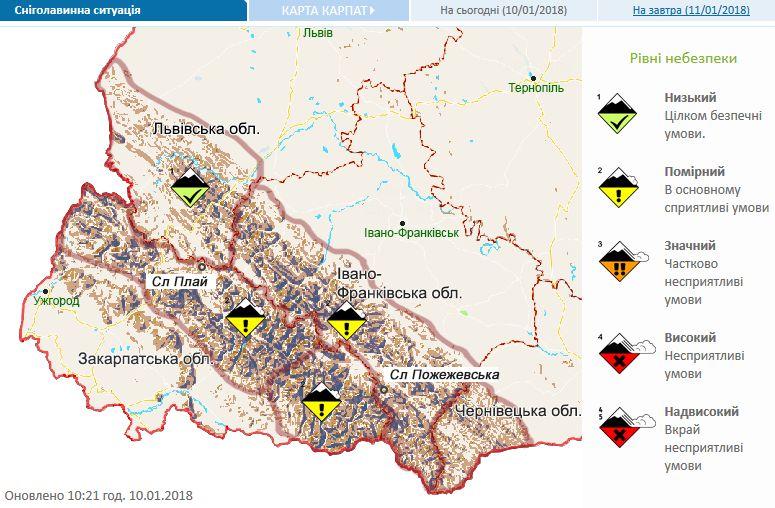 Означительной снеголавинной опасности вКарпатах предупреждают синоптики