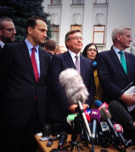 Міністри закордонних справ Польщі та Швеції після зустрічі із президентом Віктором Януковичем. Фото Павла Шеремета