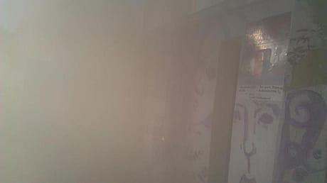 Під приміщення, де показували фільм про Януковича, кинули димову шашку. Фото Alisa Ruban