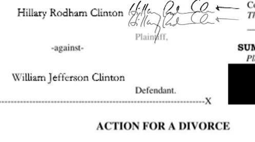 Підпис Клінтон на документі та підпис з інтернету, рівень непрозорості 50%