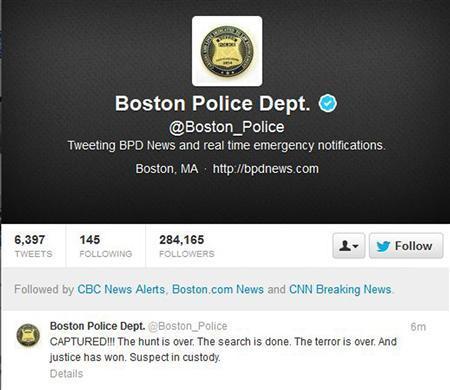 Повідомлення з Твіттер поліції Бостона. Фото з сайту Reuters