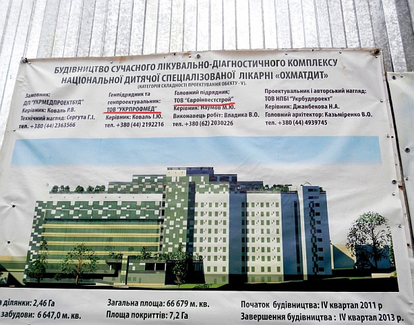 Забудовники Охматдиту: Київське ТОВ Укрпрофмед та донецьке ТОВ Євроінвестстрой