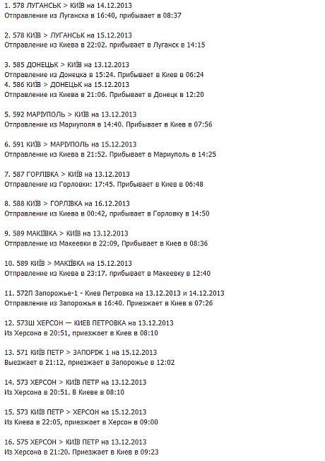 Список поїздів