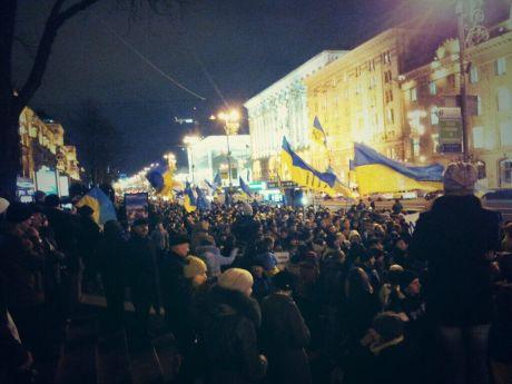 Студенти на Майдані у Києві, вечір четверга. unitednf_UA: «Студенти ми сила!»