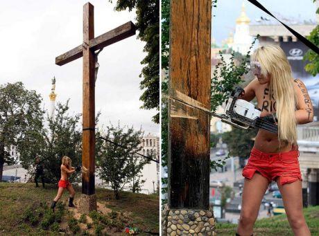 Шевченко на акции Femen спилила крест