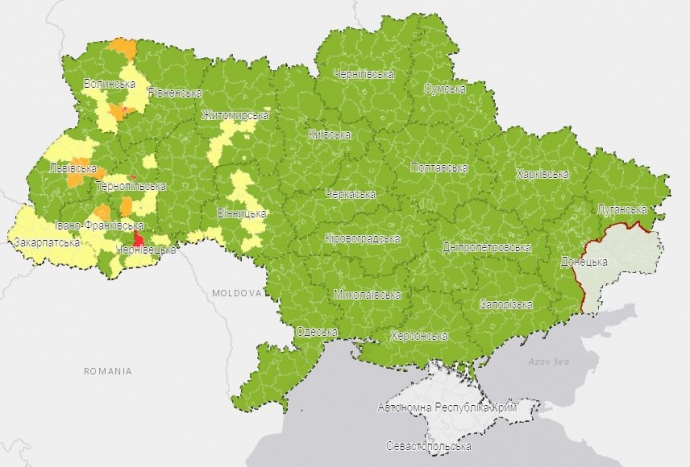Визуализация эпидемических показателей на уровне районов и городов областного значения