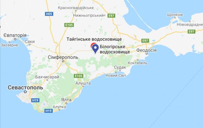 Білогірське водосховище на мапі Криму