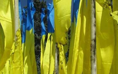 В Донецке неизвестные подожгли флаг Украины возле горисполкома