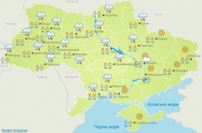 Прогноз погоди на 19 серпня