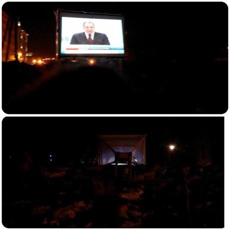На Грушевского ВВшников и Беркут пытают трансляцией честных новостей. Фото из Facebook Романа Выбрановского