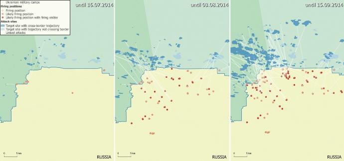 Кількість обстрілів з території РФ упродовж липня-вересня 2014 року.
