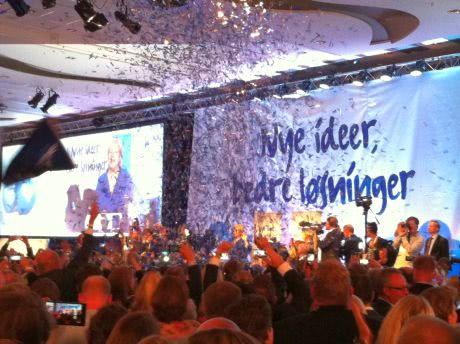 Консерватори Норвегії святкують перемогу. Фото Ольги Андрущенко