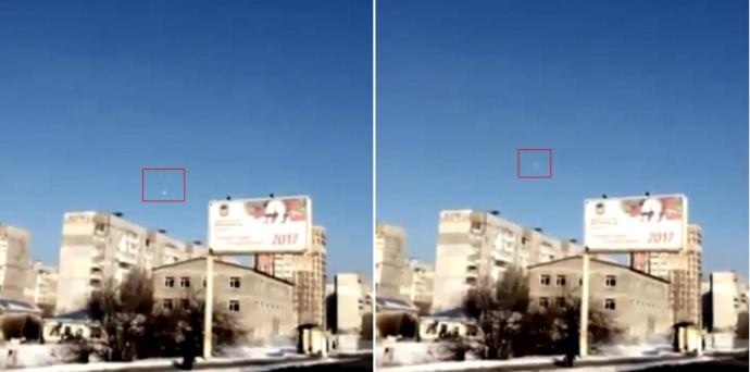 Два кадри з відео, на яких видно ракети в небі над житловими кварталами Донецька