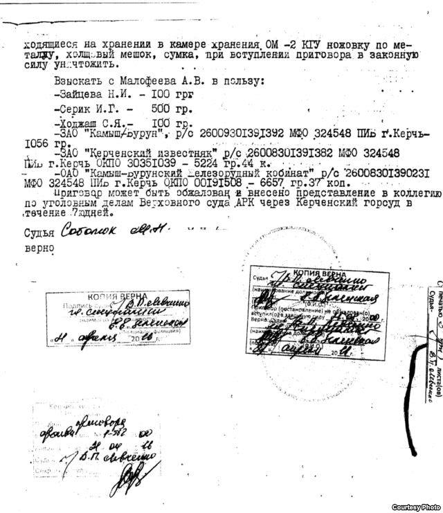 Решение Керченского горсуда по делу Малофеева