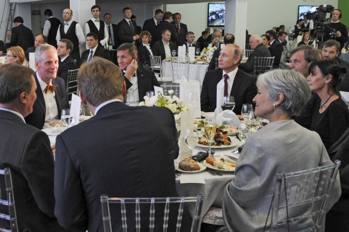 Флинн и Путин на обеде в Москве