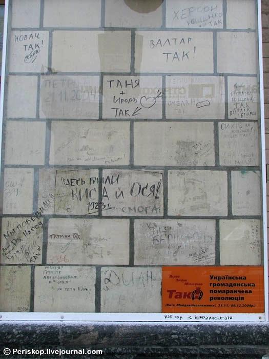 Написи на колоні Главпоштамту в Києві