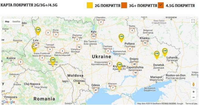 Карта покриття 4G від lifecell