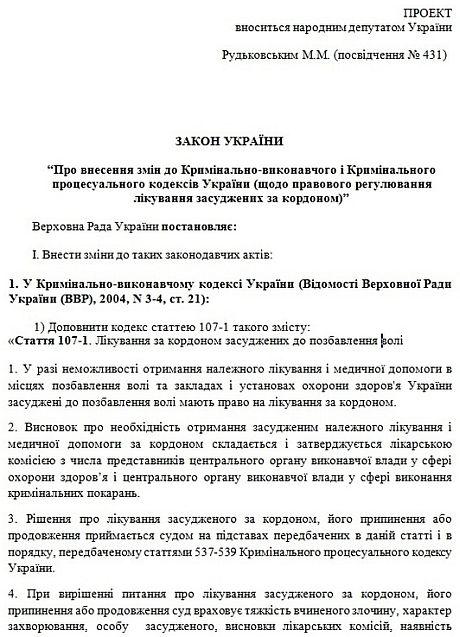 Текст законопроекта Рудьковского