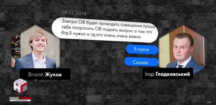 ОВ – Олег Володимирович Гладковський, заступник секретаря РНБО