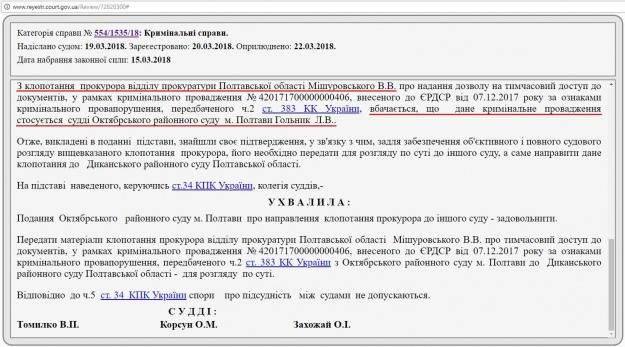 З ухвали Апеляційного суду Полтавської області
