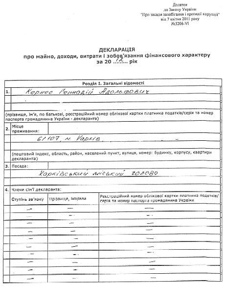 Декларация Кернеса за 2012 год