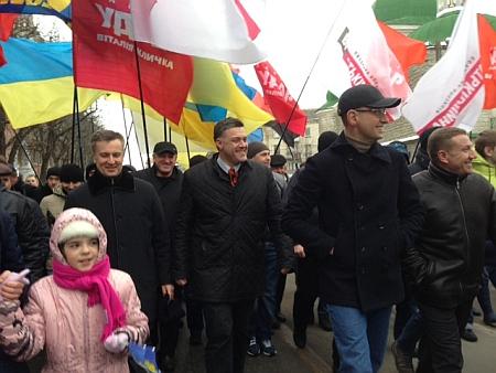 Яценюк, Тягнибок і Наливайченко на марші у Тернополі