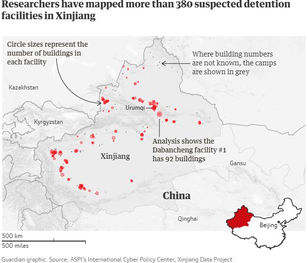 Міжнародний центр кіберполітики ASPI, проєкт даних Сіньцзян / графіка The Guardian