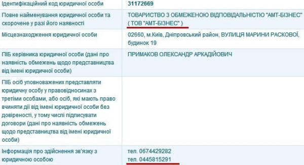 Скріншот з ЄДР: АМТ-Бізнес