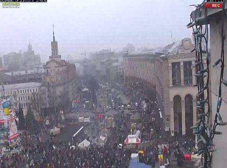 Майдан Независимости. Принт-скрин с веб-камеры. По состоянию на 13:43