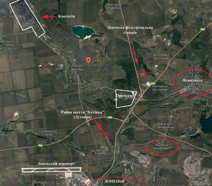 Фільтрувальна станція між Авдіївкою та Ясинуватою, лінія зіткнення станом на кінець 2016-го року